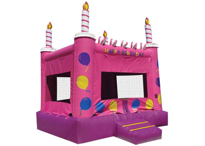 pink cake party bounce house